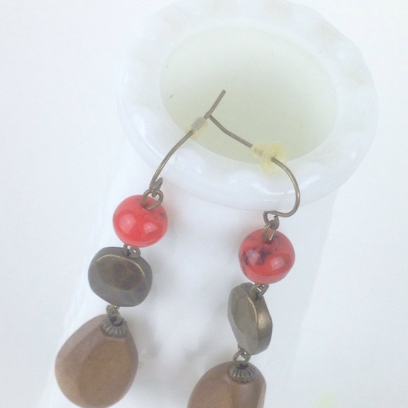 Jewelry - Stone and red bead pendant earrings