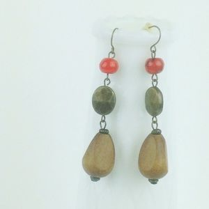 Stone and red bead pendant earrings