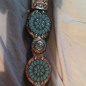 Other - 💕HOST PICK💕VINTAGE REAL LEATHER REAL TURQUOISE