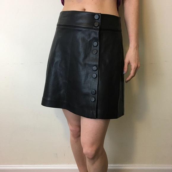 7822bb2dc9fd7a Zara Skirts | Black Fall Faux Leather Button Down Skirt | Poshmark