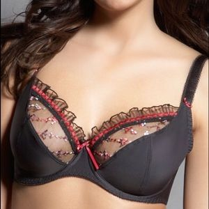Freya Other - Black Bra with Red & Pink Embroidery