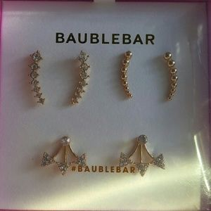 bauble bar Jewelry - Ear climber and ear jacket gold sparkling set!!