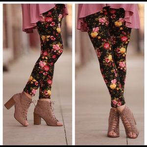 Black Floral Print Leggings OS