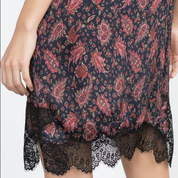 Zara Dresses - Zara Woman paisley lace slip dress size Small