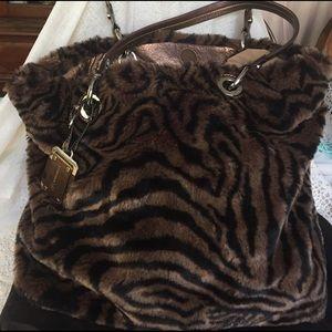 B. Makowsky Handbags - B Makowsky Animal print Leather and faux fur Purse
