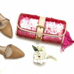 Juicy Couture Handbags - JUICY COUTURE Pink Sequin Straw Clutch Bag Wallet