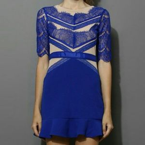 Blue eyelash lace frill hem dress