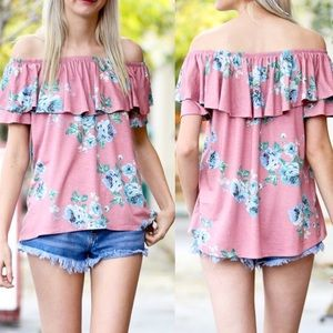 Pink Peplum Boutique Tops - 🆕 ARRIVAL! Off shoulder ruffle floral print top