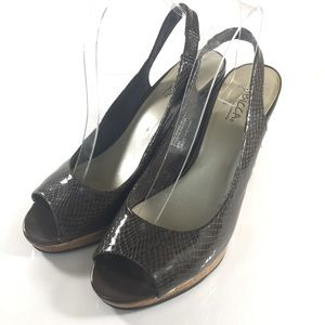 Sbicca Shoes - Sbicca Brown Peeptoe Wedges Size 9
