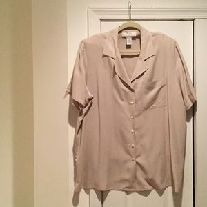 Nexx Tops - Ladies 2x 100 silk button down blouse taupe NWOT