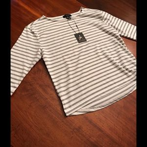 Atmosphere Tops - Gray and white striped shirt- sz. 6 but runs small