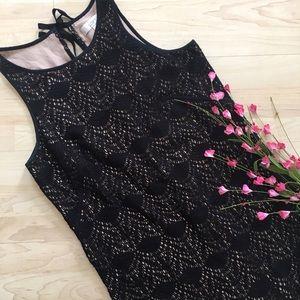 Loft black cream crochet lace shift dress