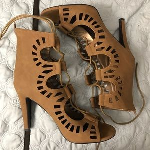 Forever 21 Shoes - Camel laser-cut lace up heels