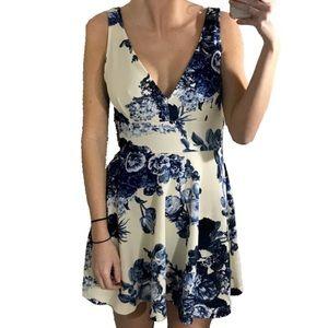 Necessary Clothing Dresses & Skirts - Blue and Ivory V-Neck Floral Skater Dress