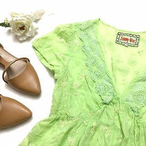 Johnny Was Tops - JOHNNY WAS Green Eyelet Floral Embroidered Top