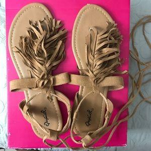 Qupid Shoes - Faux suede fringe lace up sandals