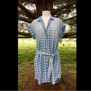 Anthropologie Cloth &Stone Checked Belt Shirtdress