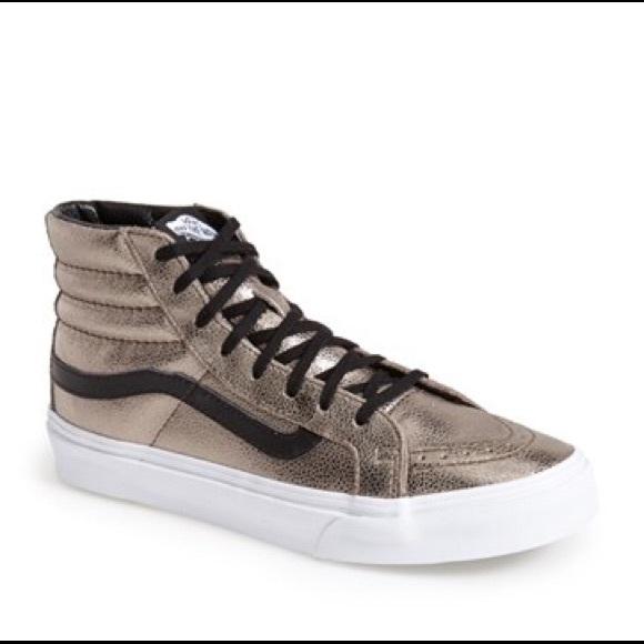 7d0c1de158 Vans Sk8-Hi Slim Black and Gold Leather Sneakers. M 58df09da9c6fcff3130170a8