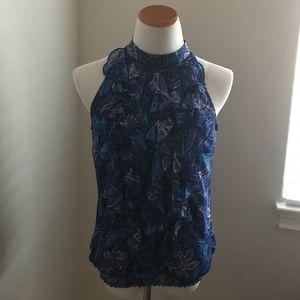 Ruffled blue paisley top