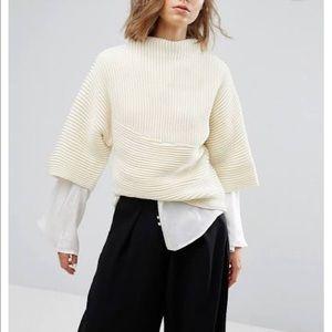 J.O.A boxy knit top in cream