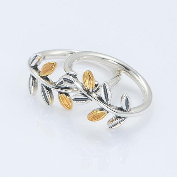 d4b44797fc0a3 Pandora Laurel Leaves Ring,Silver &14 K gold