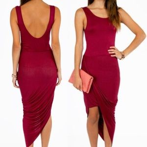 "Tobi Dresses & Skirts - TOBI Burgundy ""Split Ends"" A-Line Dress - SIZE L"