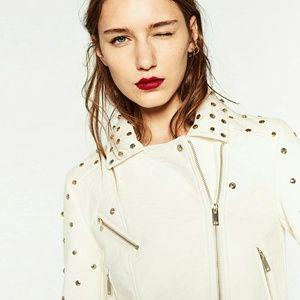 Zara Leather Effect Jacket Ecru Studded XS