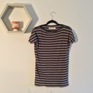 Madewell stripe zipper tee