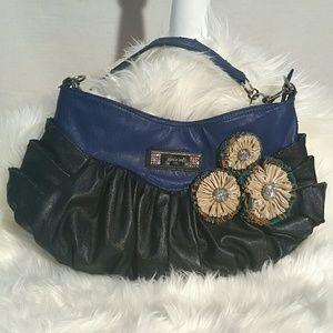Nicole Lee Handbags - Nicole Lee blue flower ruffle shoulder bag