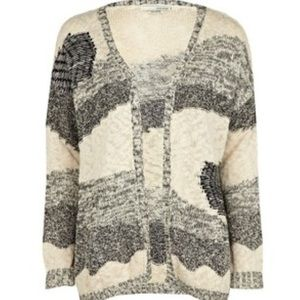 River Island Sweaters - River Island Beige Abstract Print Cardigan