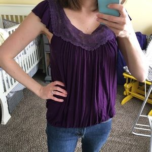 Tops - Purple Short Sleeve Top with Lace Edging