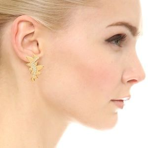Sam Edelman gold pave jagged post earrings