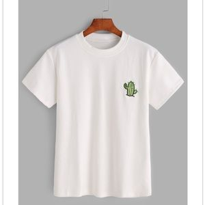 Tops - White Embroidered Cactus T-Shirt 🌵
