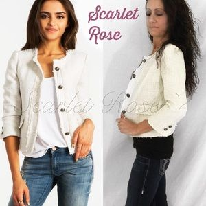 Scarlet Rose Boutique Jackets & Blazers - 🌹Off-White Tweed Buttoned Distressed Blazer🌹