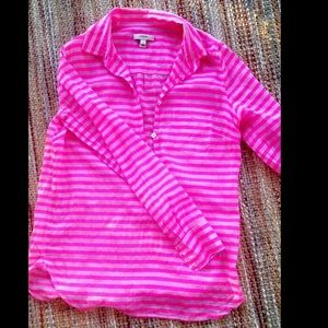 Hot pink striped j crew top