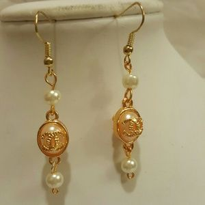 pink and white pearl earrings