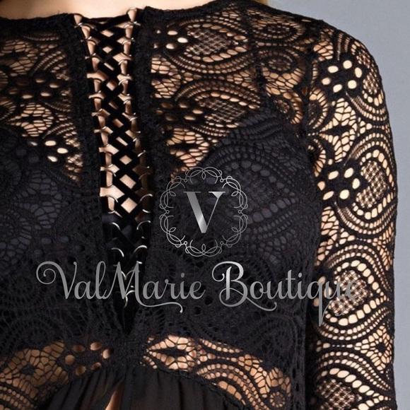 ValMarie Boutique Tops - LACE UP HI-LO ELEGANT LACE TUNIC