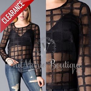 📍CLEARANCE 📍BLACK WAFFLE MESH LONG SLEEVE TOP