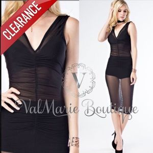 CLEARANCE BLACK MESH RUCHED MIDI DRESS