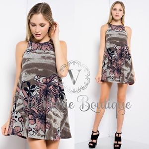 ValMarie Boutique Dresses & Skirts - FLORAL CAMO BRUSHED MINI SWING DRESS TUNIC