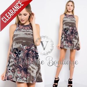 CLEARANCE FLORAL BRUSHED MINI SWING DRESS