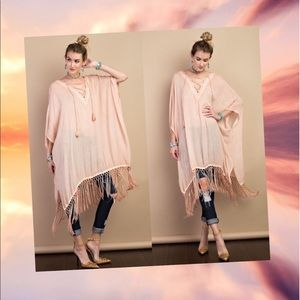 Tops - ❤️HP❤️ Oil Washed Gauze Poncho- LIGHT BRICK