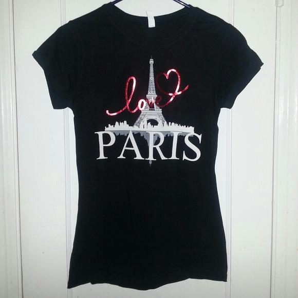 Tops - Black Love Paris Graphic Print Tee Shirt