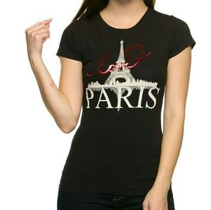 Tops - Black Love Paris Graphic Print Tee Shirt