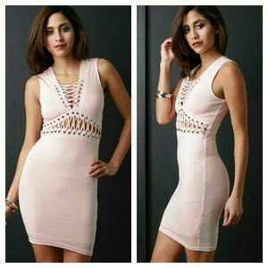Dresses & Skirts - Sexy Soft Pink Bodycon Lace Up Mini Dress