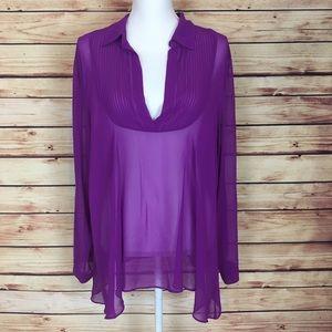 Free People Tops - Free People Sheer Blouse Purple Long Sleeve Large