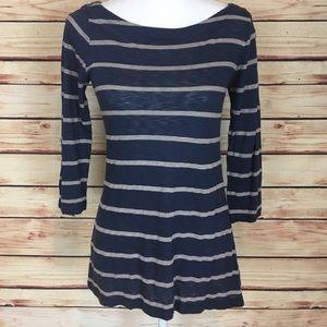 Splendid Tops - Splendid Striped Shirt Blue 3/4 Sleeves Sheer XS