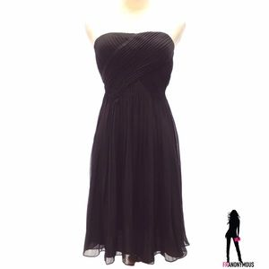 Strapless Black Chiffon Cocktail Dress 0