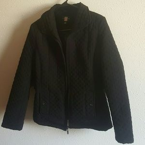 Gallery Jackets & Blazers - Quilted Black Jacket with Cinched Waist