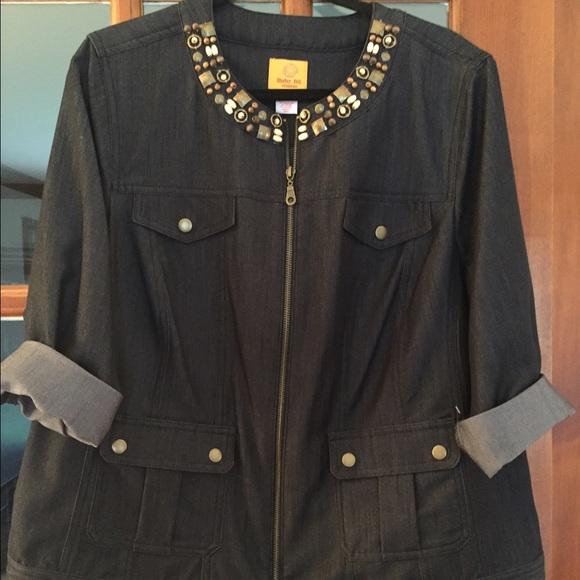 Jackets & Blazers - Black denim jacket with bead detailing